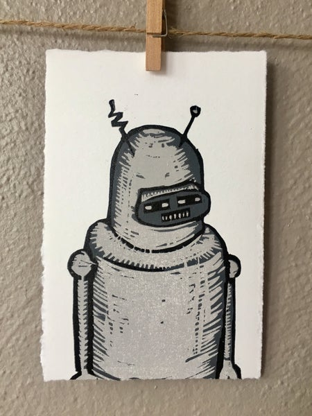 "Image of ""Sad Robot"" Woodcut"