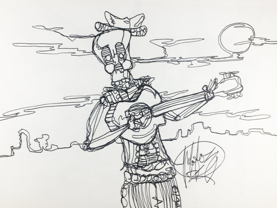 "Image of ""Dia de los Guitarras"" one line drawing"