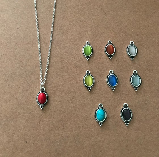 Image of Rainbow Oval Charm Necklaces