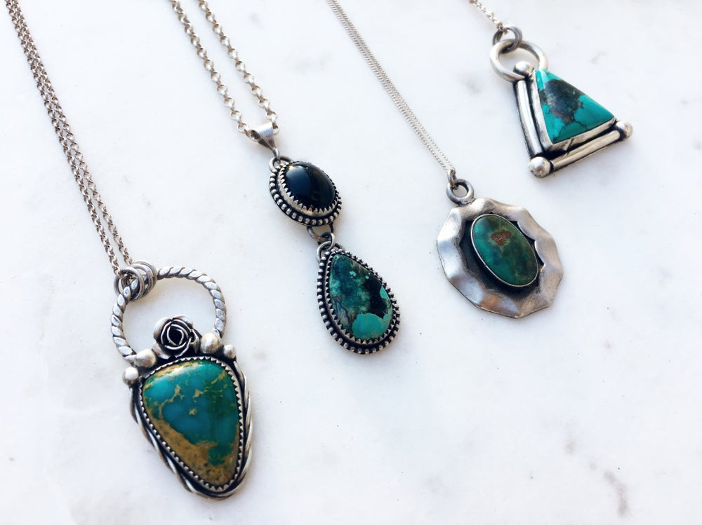 Image of Turquoise Rose necklace