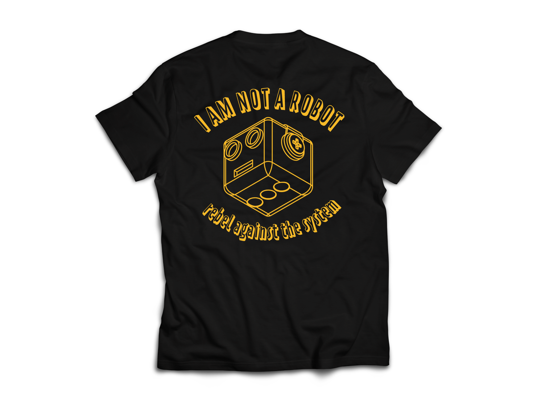 Image of I Am Not A Robot Black & Gold T-Shirt
