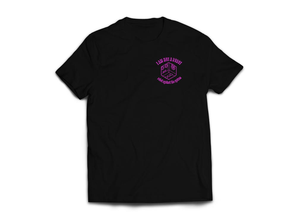 Image of I Am Not A Robot Black & Magenta T-Shirt