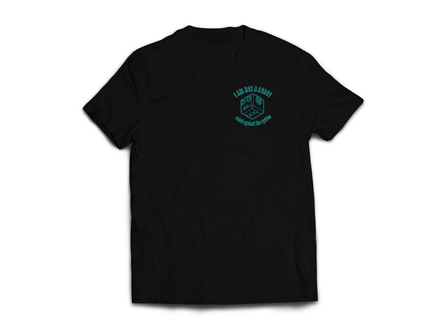 Image of I Am Not A Robot Black & Teal T-Shirt