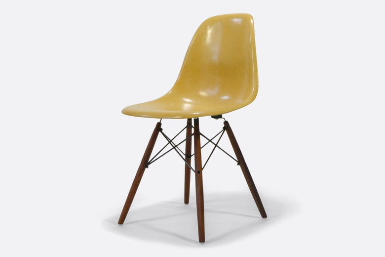 Image of Vintage Eames Fiberglass Chair Light Ochre