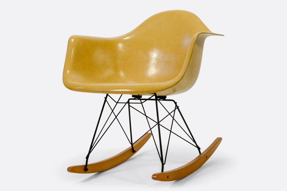 Image of Vintage Eames Light Ochre Fiberglass Rocking Chair