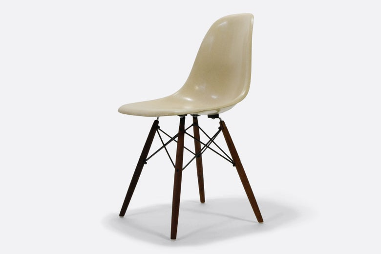 Image of Vintage Eames Parchment Fiberglass Chair