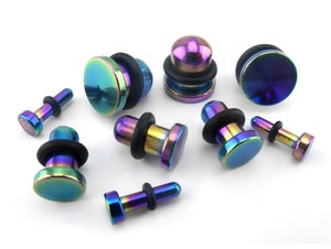 Image of Rainbow PVD Bullet Septum Keeper Ear Plug Stretcher 1.6mm - 8mm