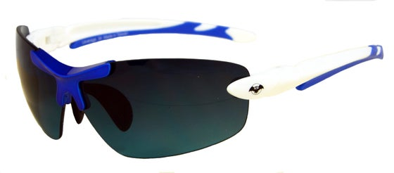 Image of Victory 34 unisex white/blue frame plus soft pouch and hard case.