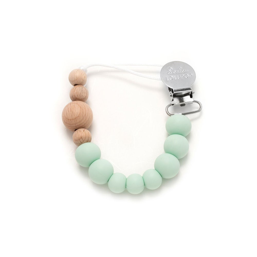 Image of Loulou Lollipop Color Block Silicone Pacifier Clip-Mint