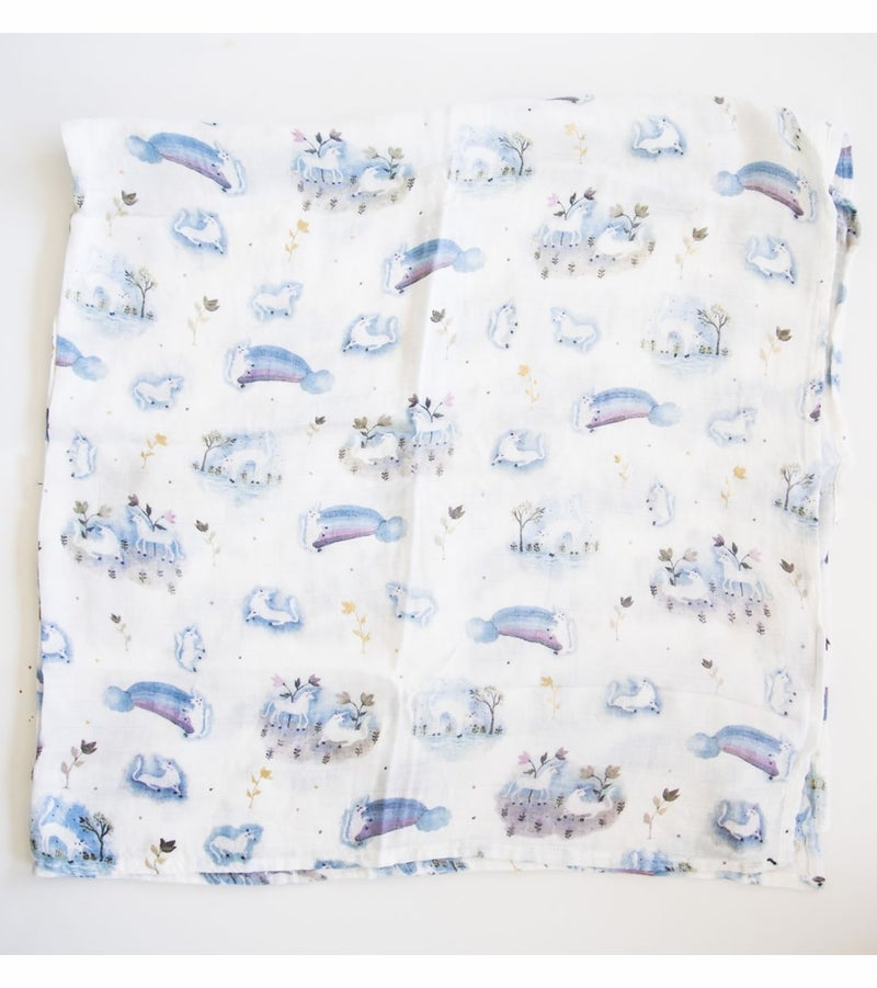 Image of LOU LOU LOLLIPOP GARDEN UNICORN BAMBOO SWADDLE