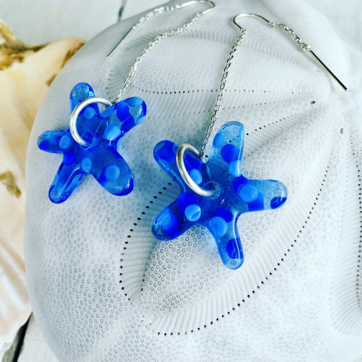 Image of Blue Starfish Earrings