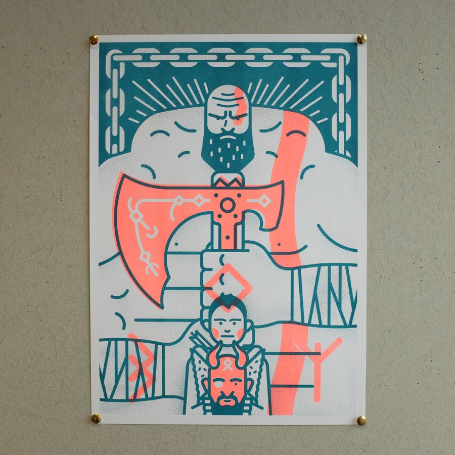 Image of God Of War A3 Risograph print