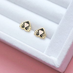 Image of Cat nose, snoots, earrings - gold plated - 925 silver posts - cat earrings - hard enamel studs