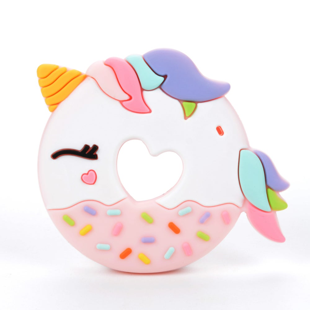 Image of LOU LOU LOLLIPOP UNICORN DONUT TEETHER-PINK