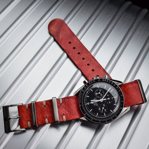 Image of Rugged 'Red Marble' Leather NATO