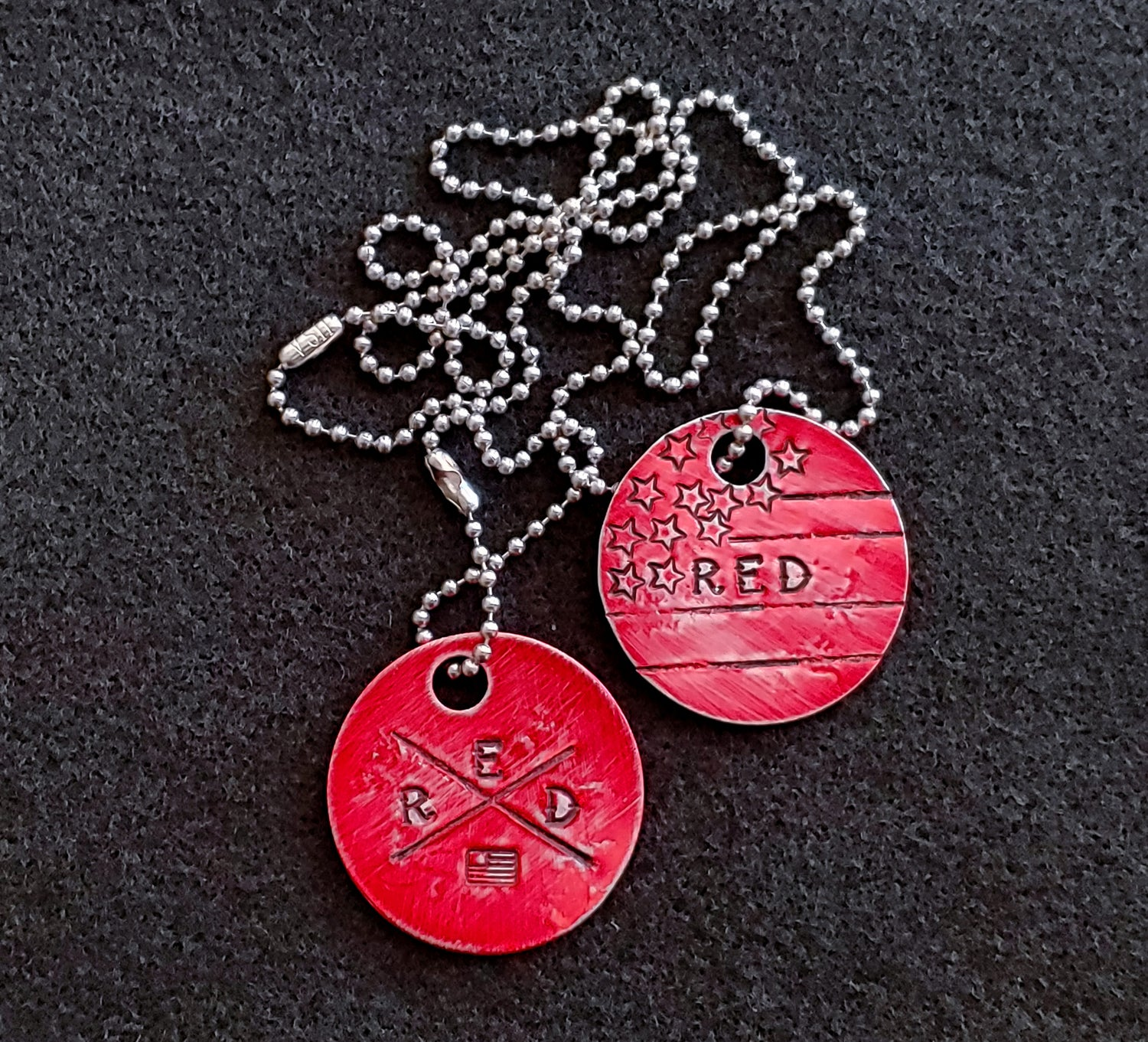 Hand Stamped R.E.D. Dogtags