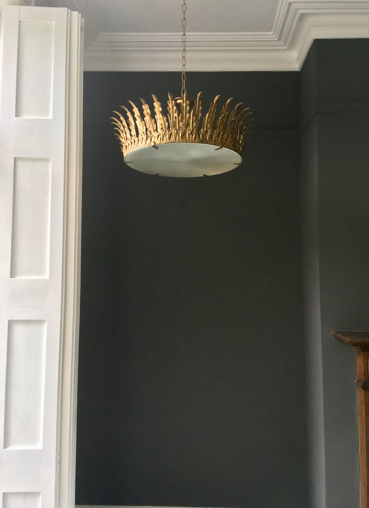 "Image of 25"" Gilt Neoclassical Crown Light, 1940s"