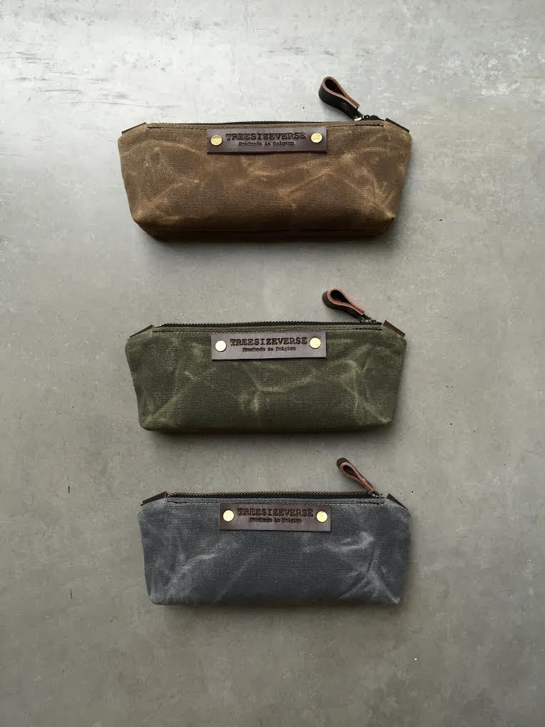 Image of Pencil case, small pouch, pencil pouch made in waxed canvas
