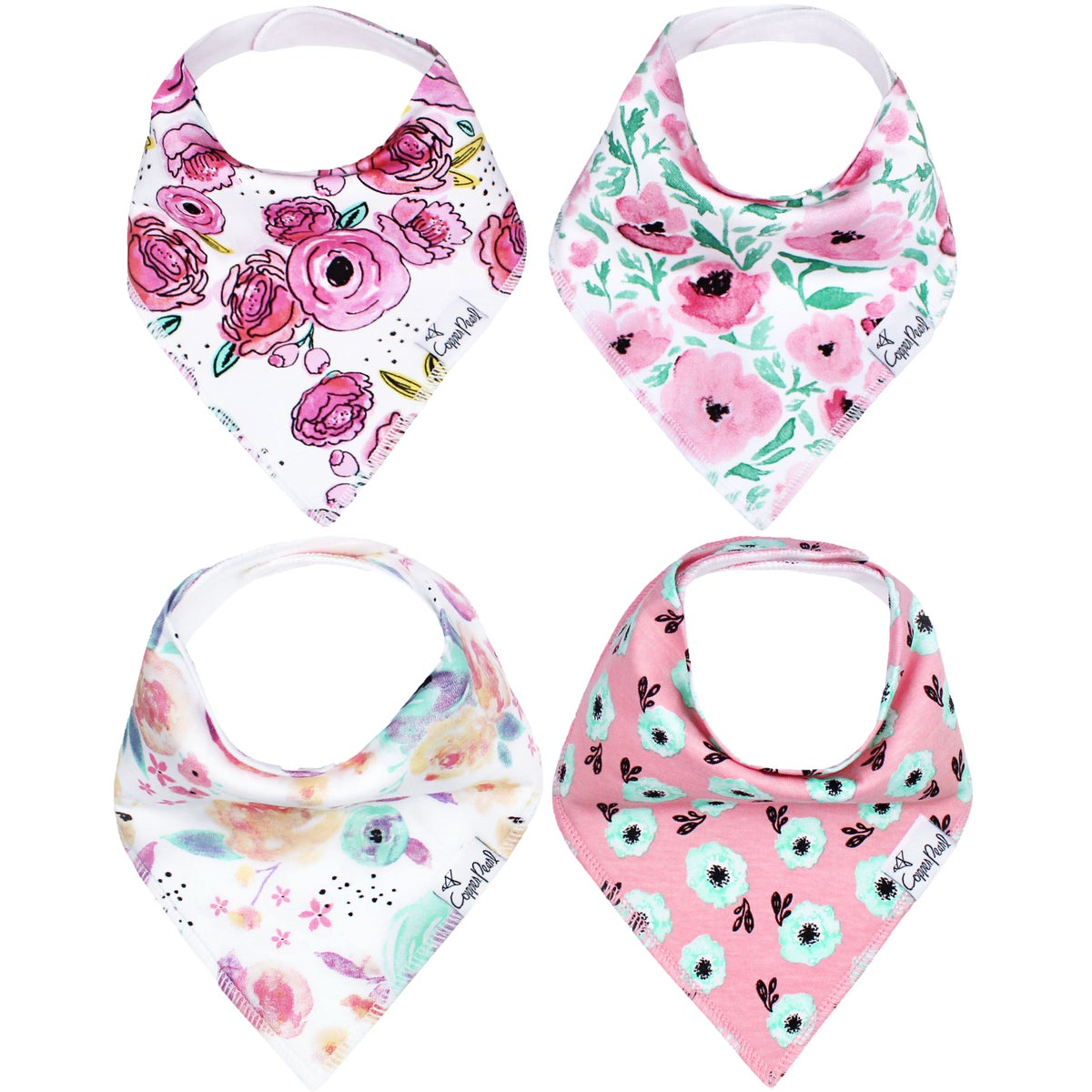Image of COPPER PEARL BANDANA BIBS- BLOOM