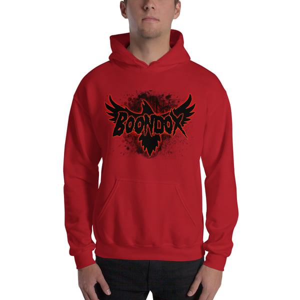 Image of Boondox Crow Logo Red Hoodie