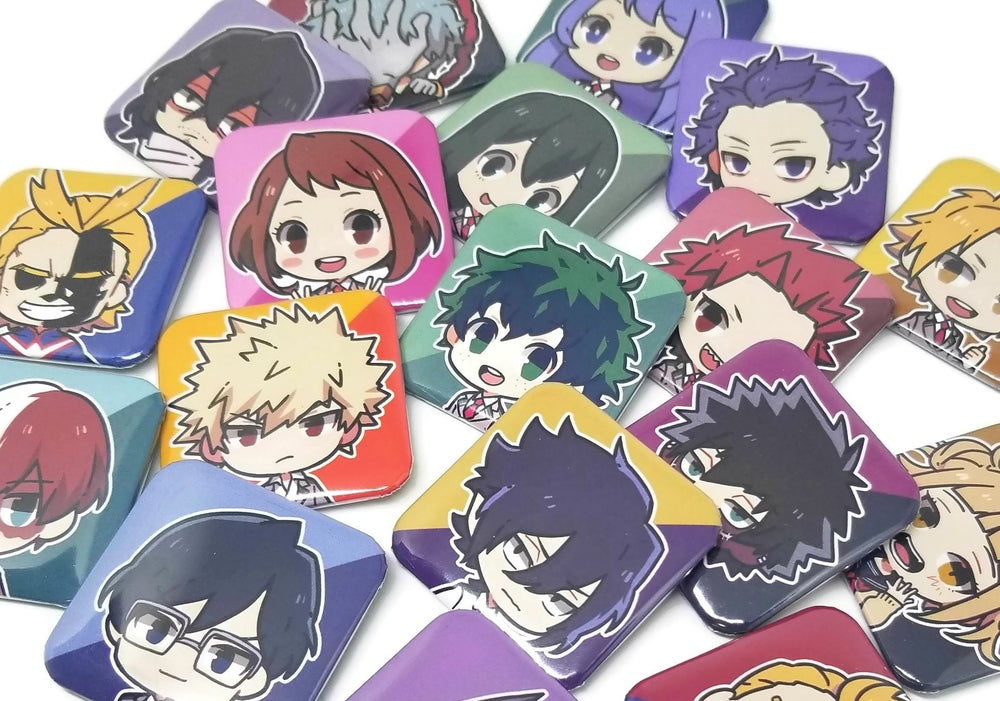 Image of BNHA Square button pins
