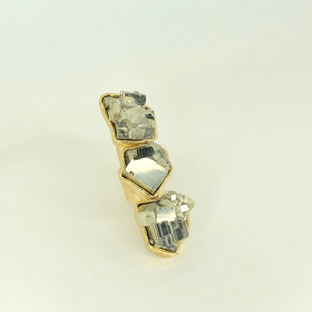 Image of Triple Pyrite Ring (Gold)