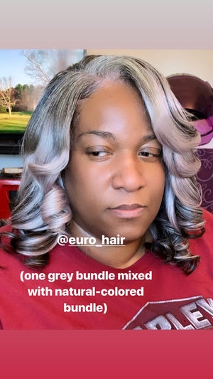 Image of GORGEOUS GREY WITH DARK ROOT PREMIUM EXTENSIONS STRAIGHT TEXTURE