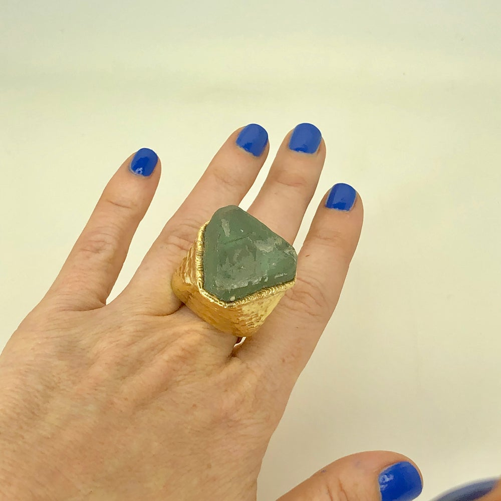 Image of Fluorite Octahedron Ring in Gold