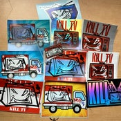 Image of Kill TV pin and special dip sticker pack combo