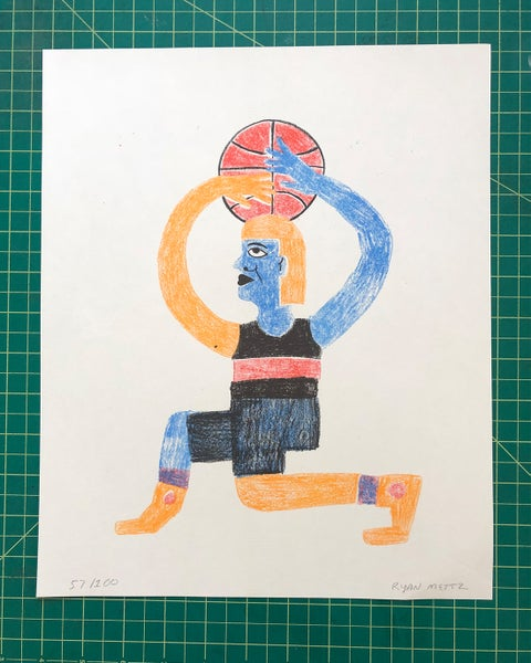 Image of basketball print by Ryan Mettz