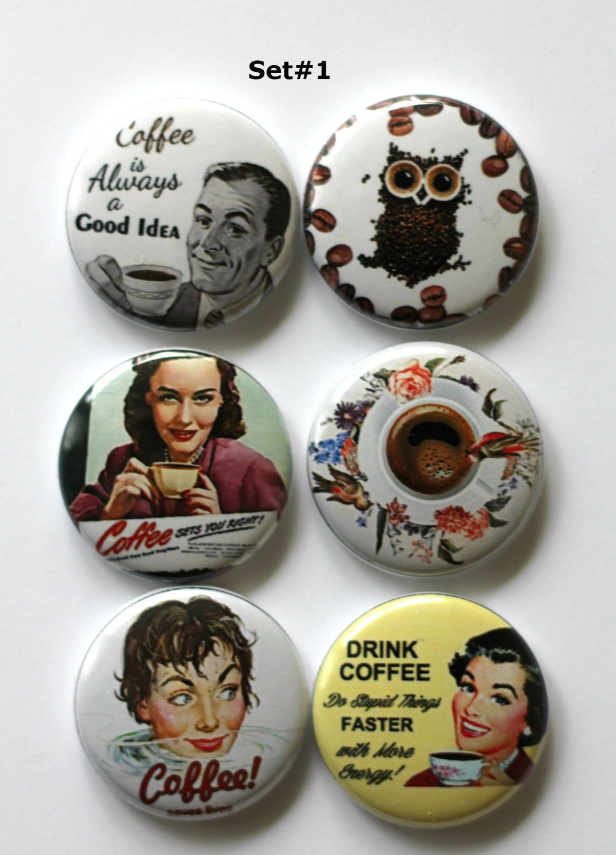 Image of Coffee Themed 2 Flair buttons