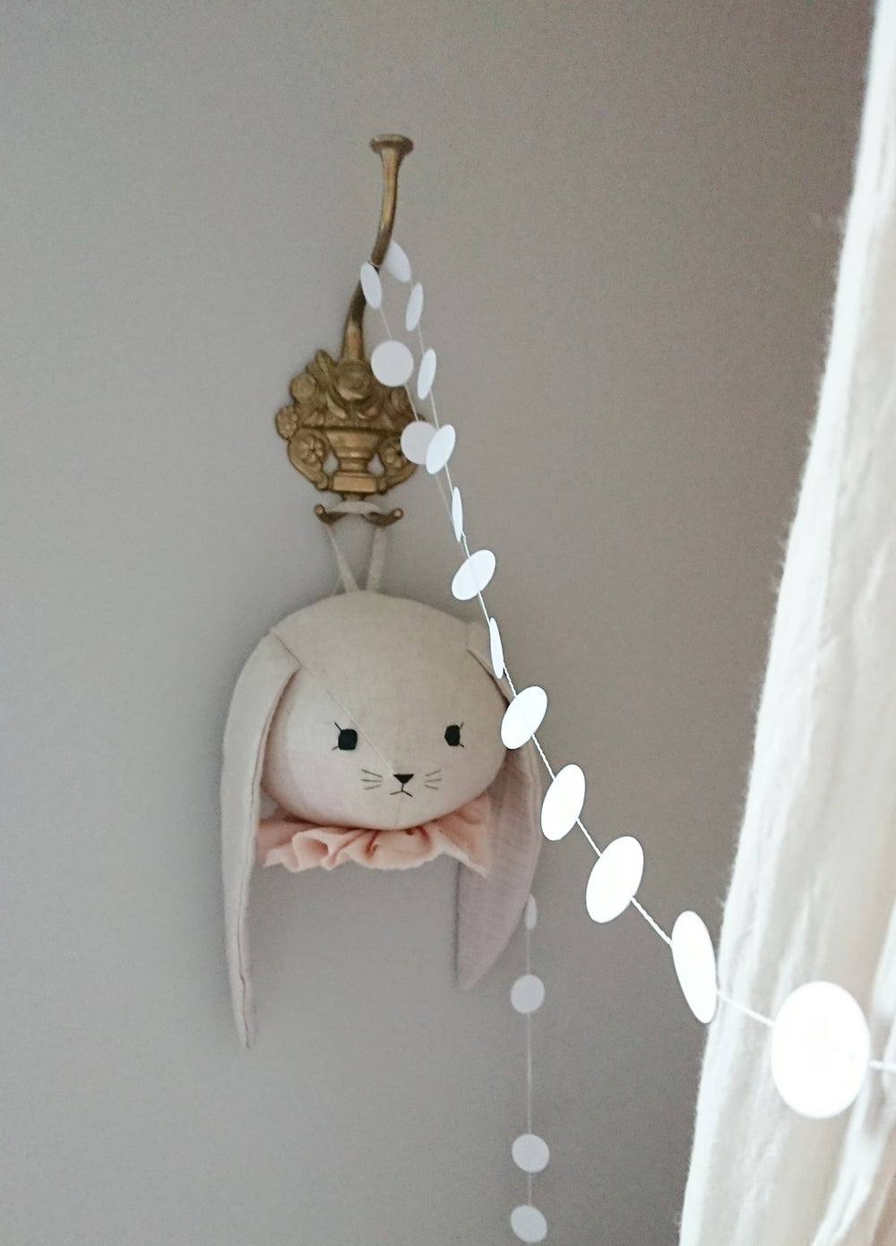 Image of Bunny wall head with peach collar