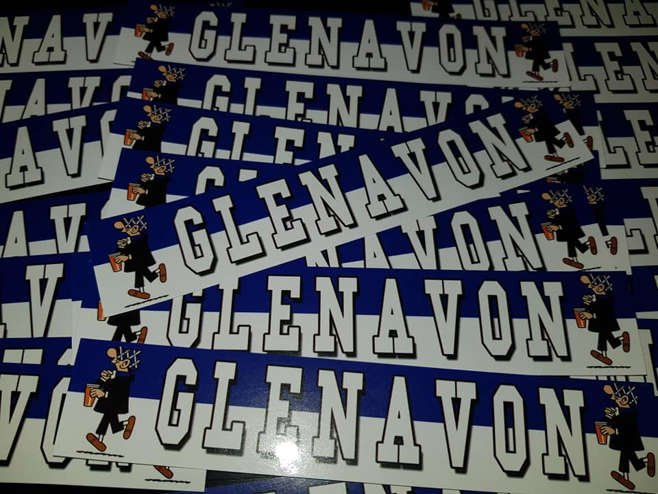 Image of Glenavon Football/Ultras/Casuals/Hooligans 15x3cm Stickers Pack of 25.