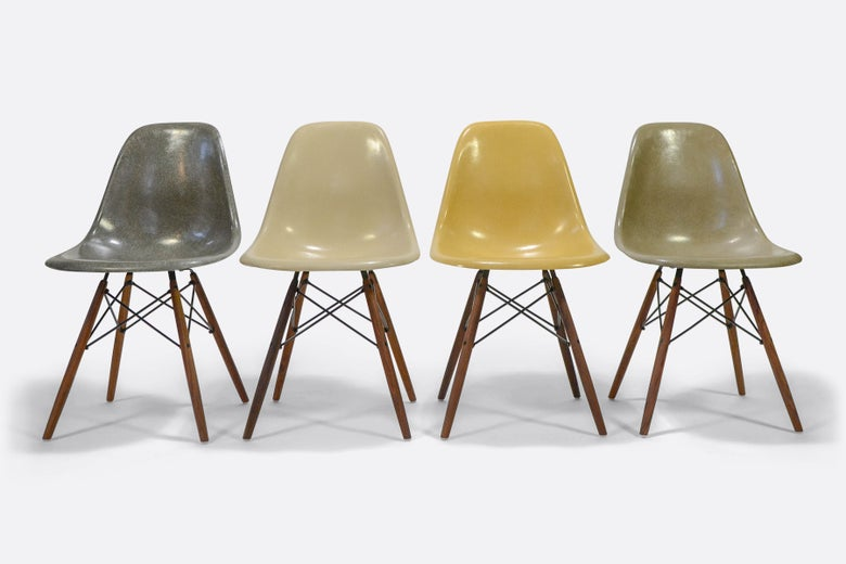 Image of Herman Miller Set of 4 Side Chair in different colors Vintage fiberglass