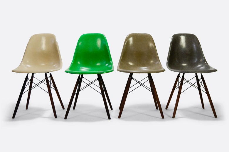 Image of Herman Miller Eames Set of 4 Side Chair in different colors Vintage fiberglass