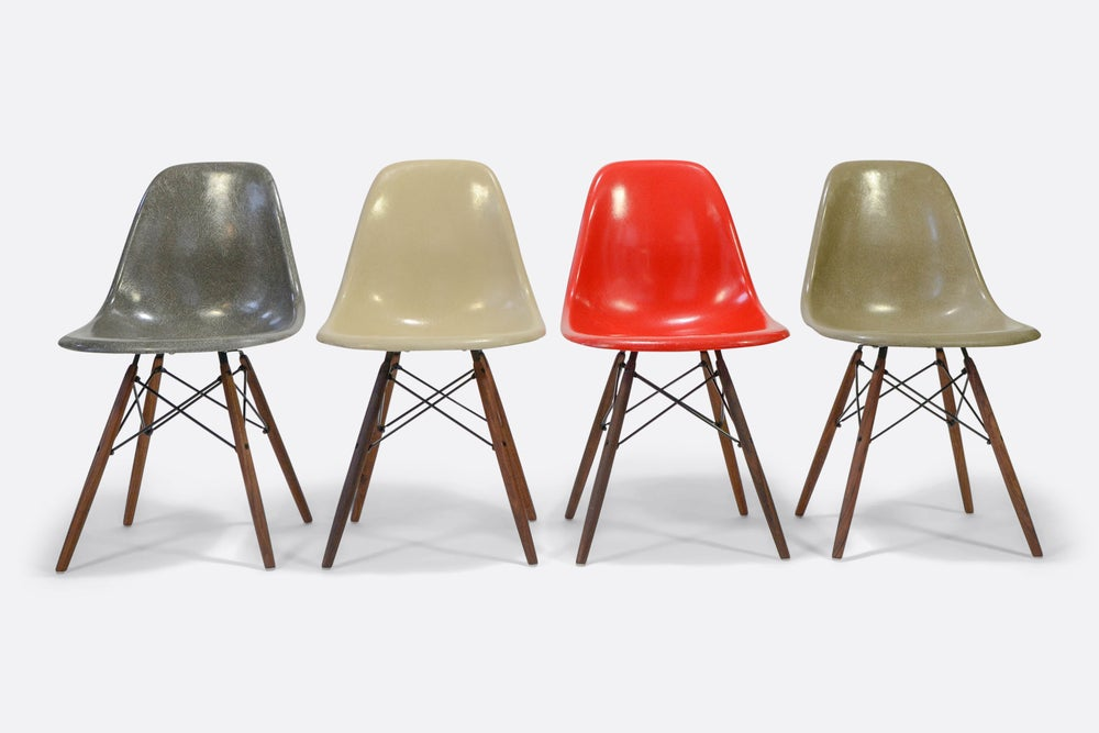 Image of Charles and Ray Eames set of 5 Fiberglass chairs