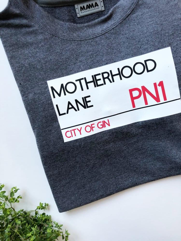 Image of Motherhood street sign sweater
