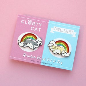 Image of Rainbow Cloud Cat and Dog pins, set of TWO hard enamel lapel pins