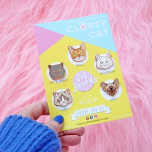 Image of Cat Breed enamel pins, set of FIVE - rose gold - hard enamel lapel pins
