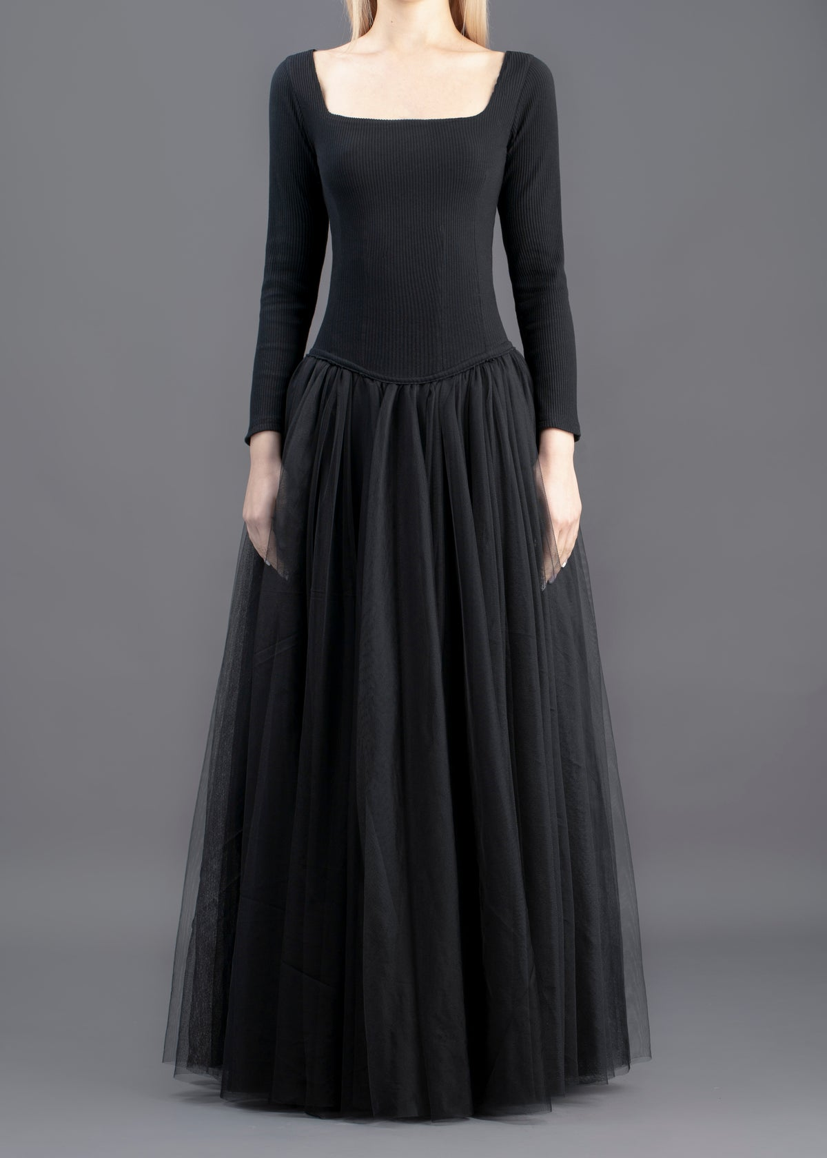 Image of Sophie Tulle Long Dress - Black