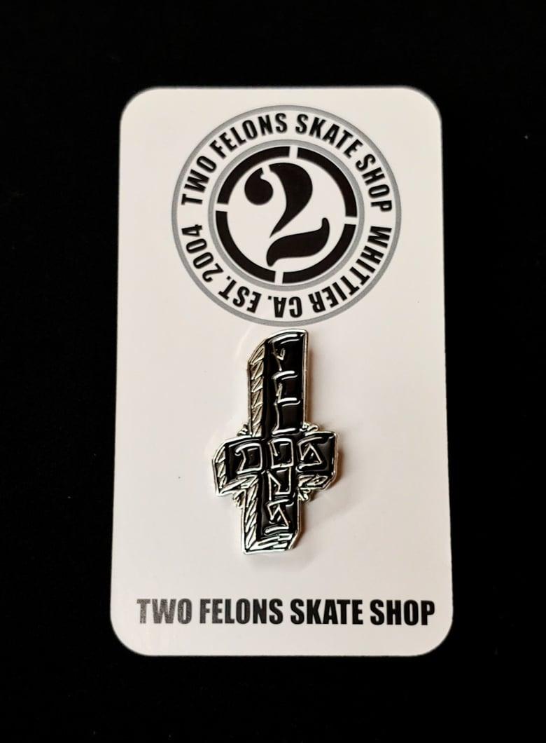 "Image of Two Felons ""Dos Felons"" trading pin"