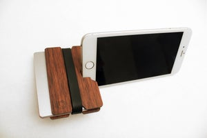 Image of Voronoi - Flexband Wooden Wallet Credit Card Holder/Phone Stand