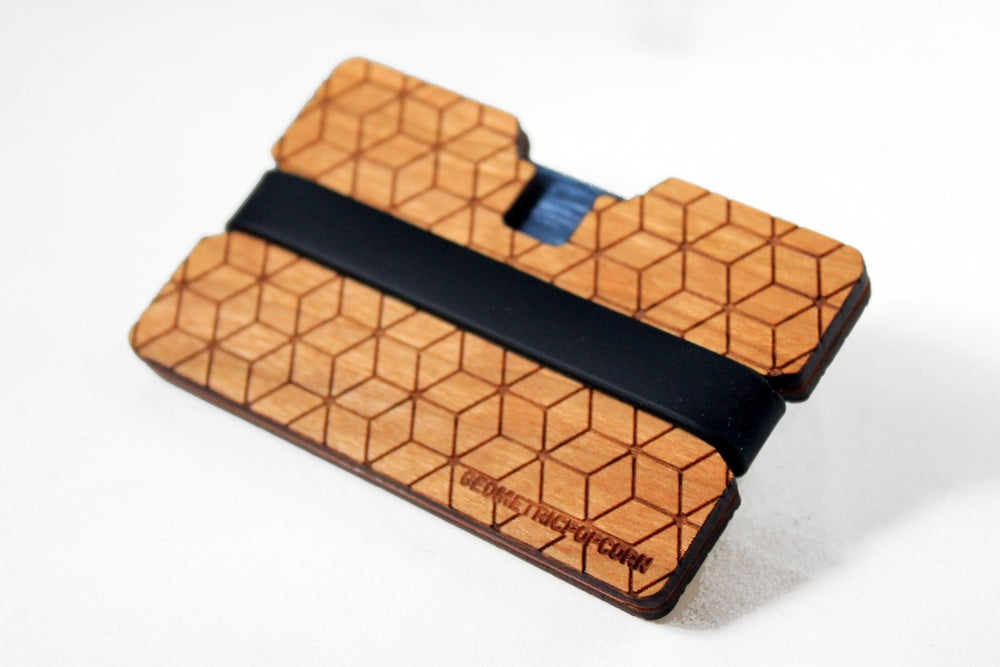 Image of GeoCubes - Flexband Wooden Wallet Credit Card Holder/Phone Stand