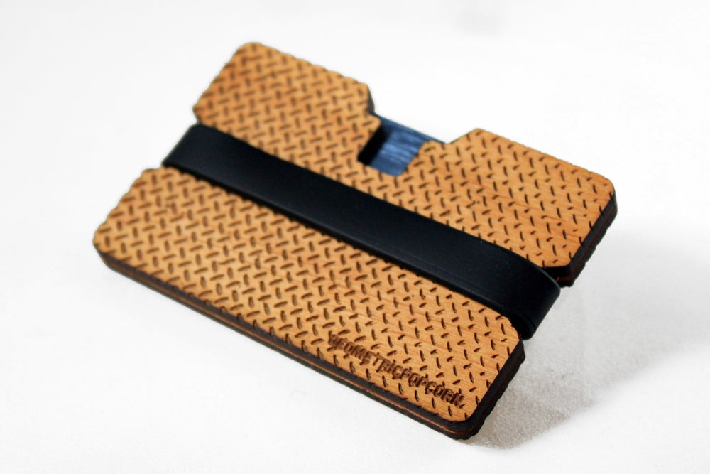 Image of Metal Grate - Flexband Wooden Wallet Credit Card Holder/Phone Stand