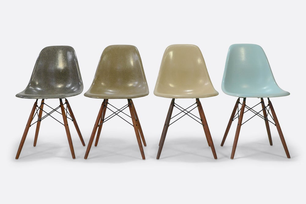 Image of Eames Herman Miller Fiberglass Chairs in a set of 4 in sale