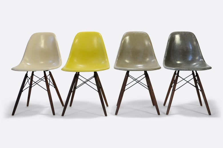 Image of Herman Miller Eames Fiberglass Side Chairs for sale in a set of 4