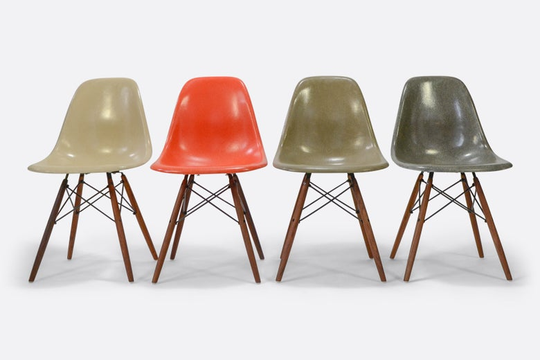 Image of Set of 4 Herman Miller Eames Fiberglass Side Chairs on sale