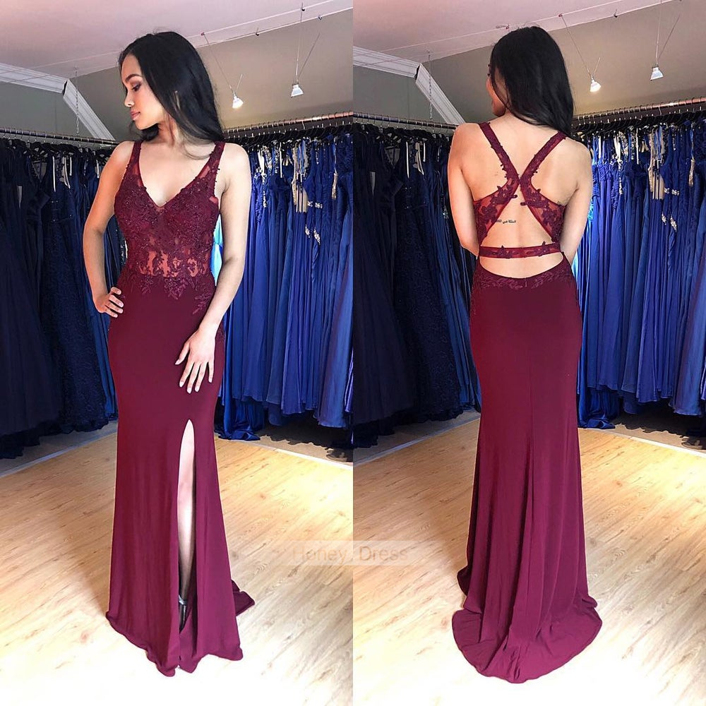 Image of Sexy Burgundy Jersey V-Neck Lace Appliques Cut Out Back Mermaid Long Evening Gown With Side Slit