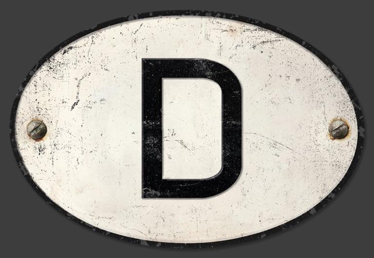 Image of German 'D' Badge, Standard 180x120mm
