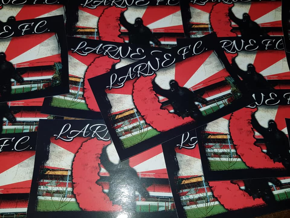 Larne FC Casuals/Ultras 10x6cm Football Stickers. Pack of 25.